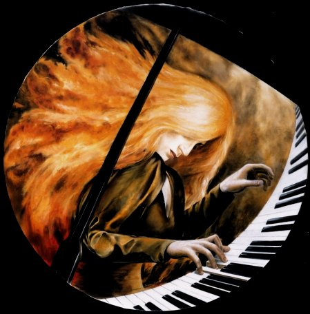 LIONESS OF THE PIANO. Oil on Canvas. Diameter 100 cm. by Stefan Bl�ndal